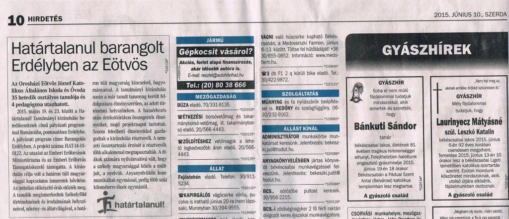 újságcikk 2015